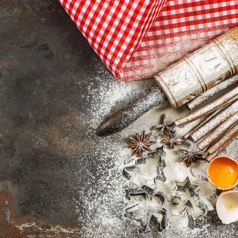 Kerstmisvoedsel Bakselingrediënten en tol Uitstekende stijl stock foto's