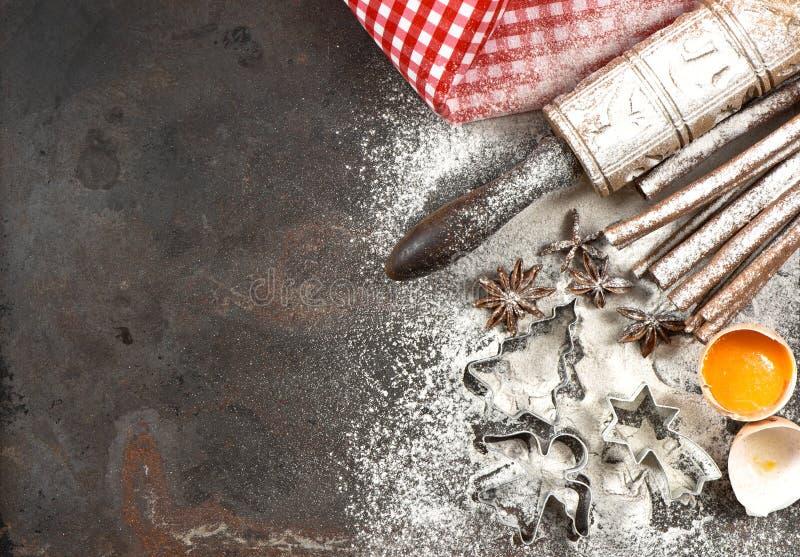 Kerstmisvoedsel Bakselingrediënten, kruiden en tol stock afbeelding