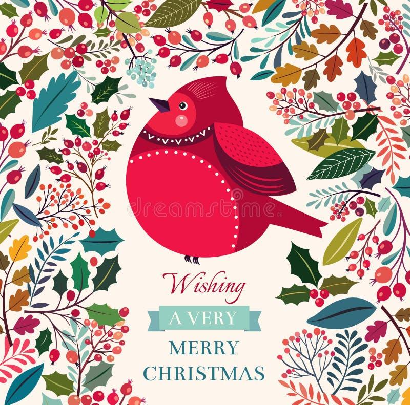 Kerstmisvogel vector illustratie