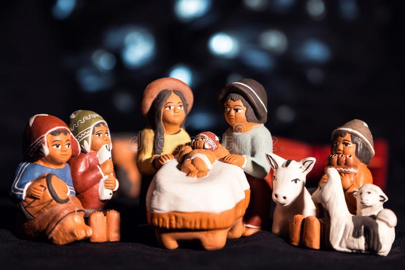 Kerstmisvooravond in traditionele, culturele eskimostijl royalty-vrije stock afbeeldingen