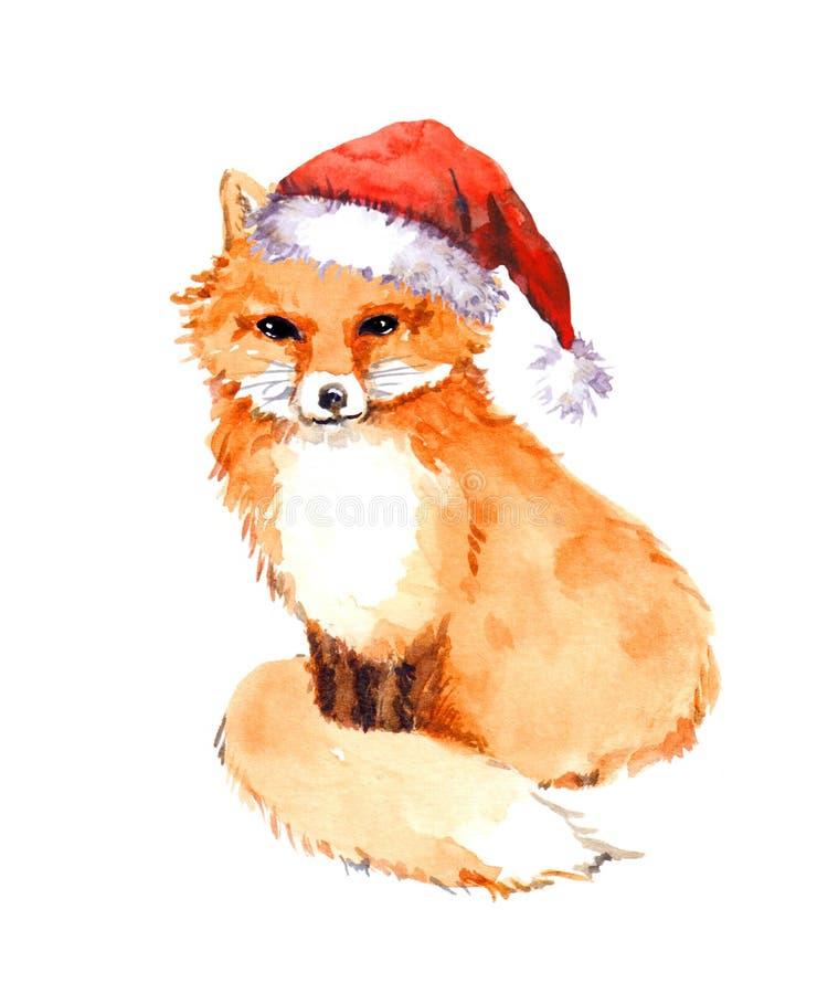 Kerstmisvos in rode santahoed watercolor stock illustratie