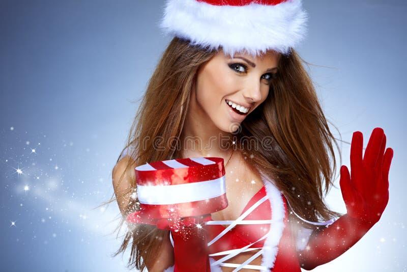 Kerstmisvrouw stock afbeelding