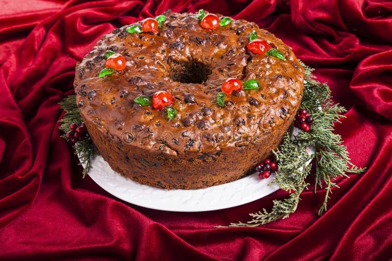 Kerstmisvruchtencake stock afbeeldingen