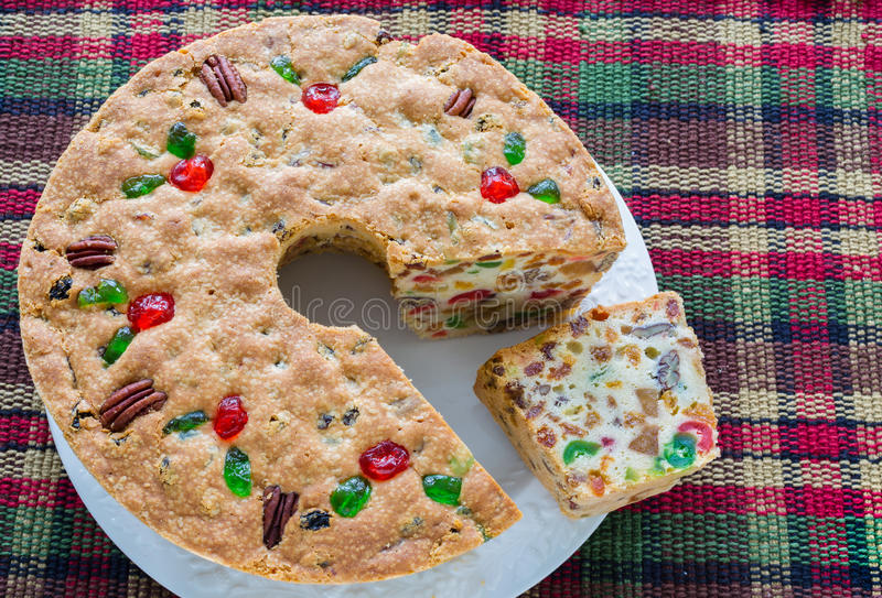 Kerstmisvruchtencake royalty-vrije stock foto's