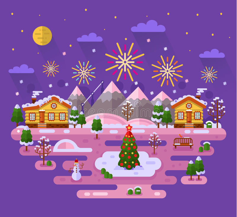 Kerstmisvuurwerk royalty-vrije illustratie