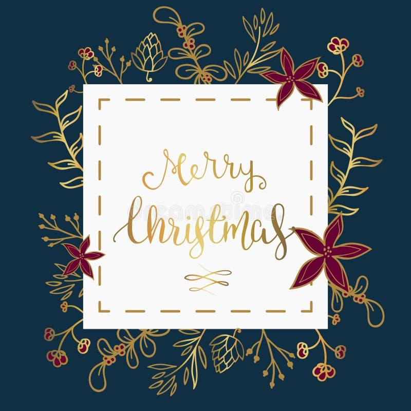 Kerstmiswensen in wit vierkant over donkerblauwe achtergrond met vakantie gestileerd ornament stock illustratie