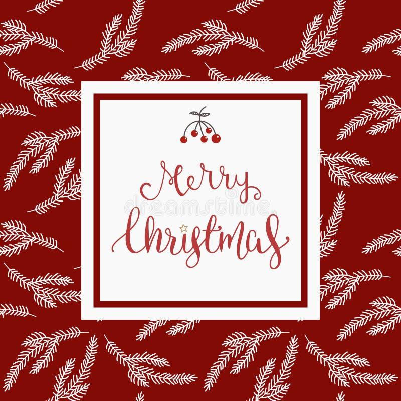 Kerstmiswensen in wit vierkant over rode achtergrond met vakantie gestileerd ornament stock illustratie