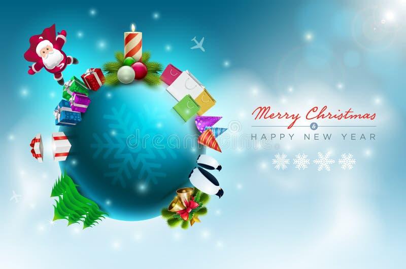Kerstmiswereld stock illustratie