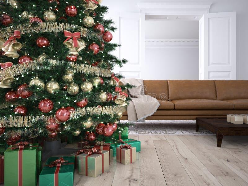 Kerstmiswoonkamer het 3d teruggeven royalty-vrije stock foto