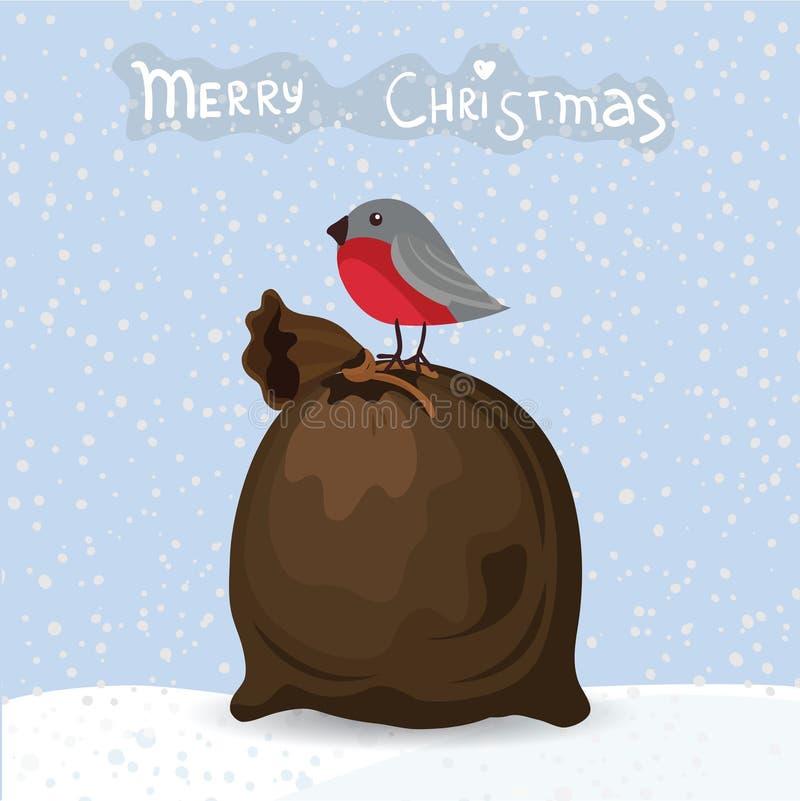 Kerstmiszak met vogel en tekst, vector stock illustratie