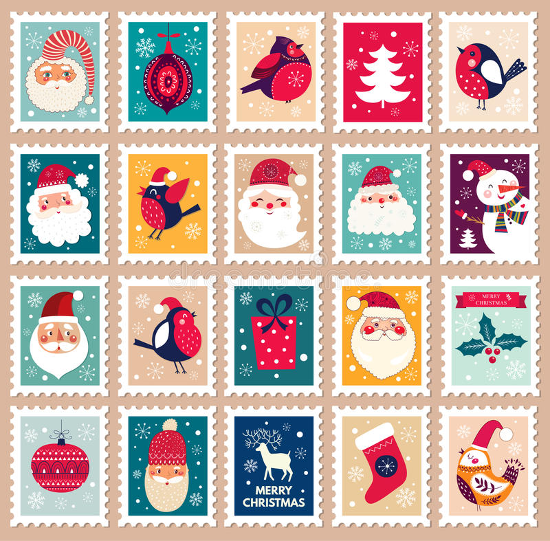 Kerstmiszegels royalty-vrije illustratie