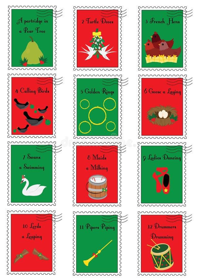 12 Kerstmiszegels met de twaalf dagen van Kerstmis vector illustratie