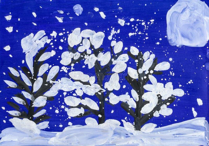 Kerstnacht in bos met volle maan Tekening van een vader en een zoon royalty-vrije illustratie