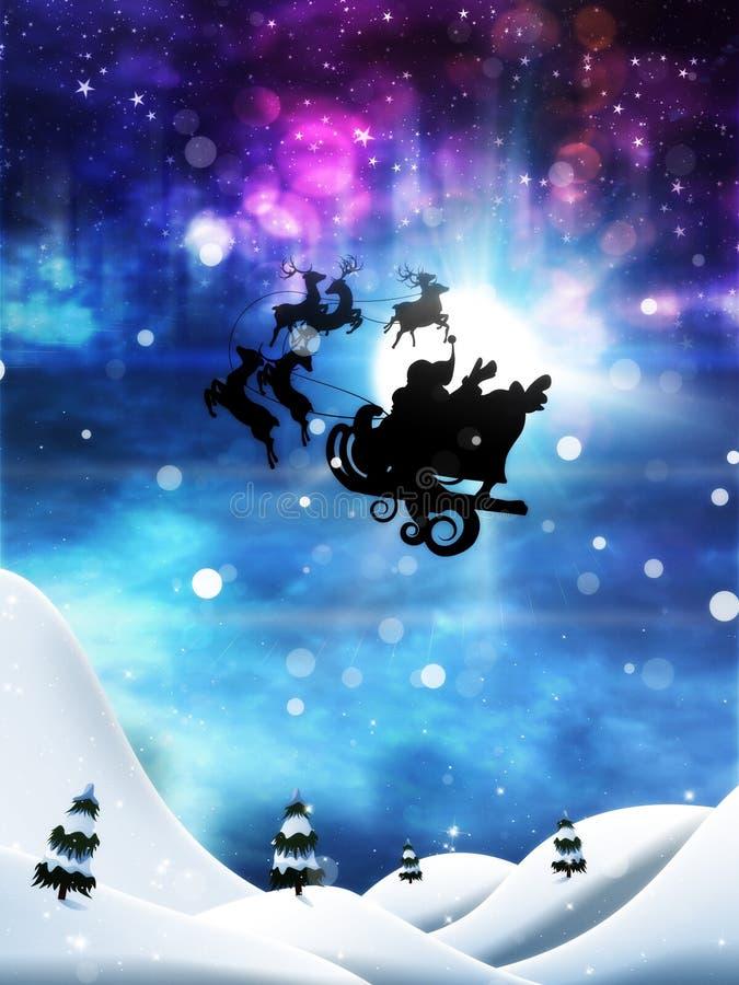 Kerstnacht en Kerstman stock illustratie