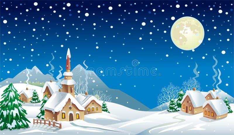 Kerstnacht in het dorp stock illustratie