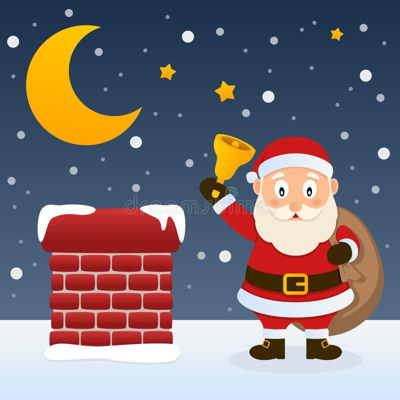 Kerstnacht met Santa Claus royalty-vrije illustratie