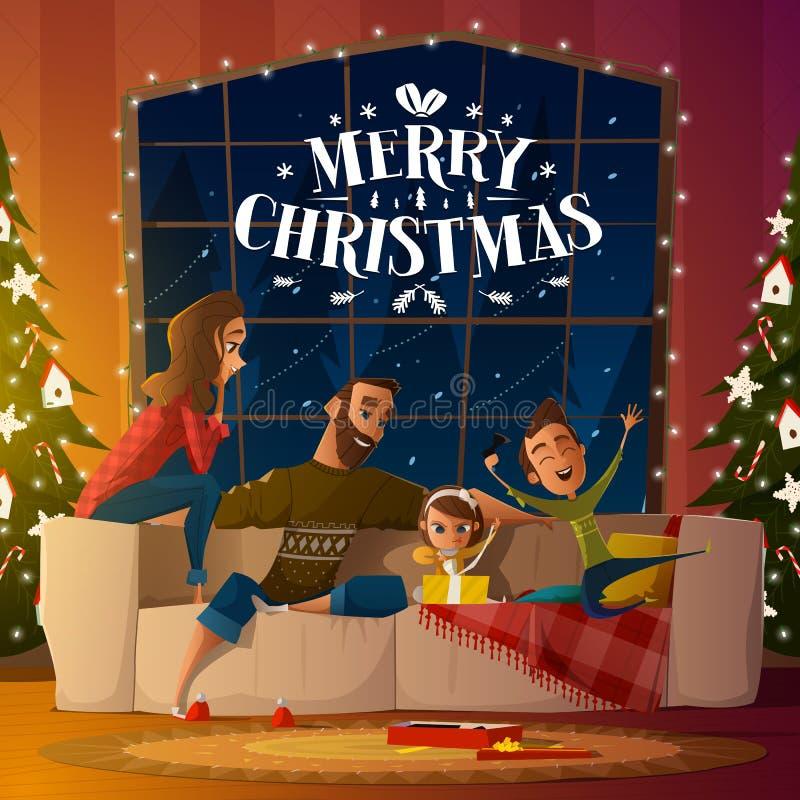 Kerstnacht thuis vector illustratie