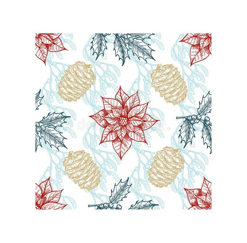 Kerstplanten naadloos patroon Branch of holly, spruce, pine, boxwood, kegels Kerstmis, botanische schets stock illustratie