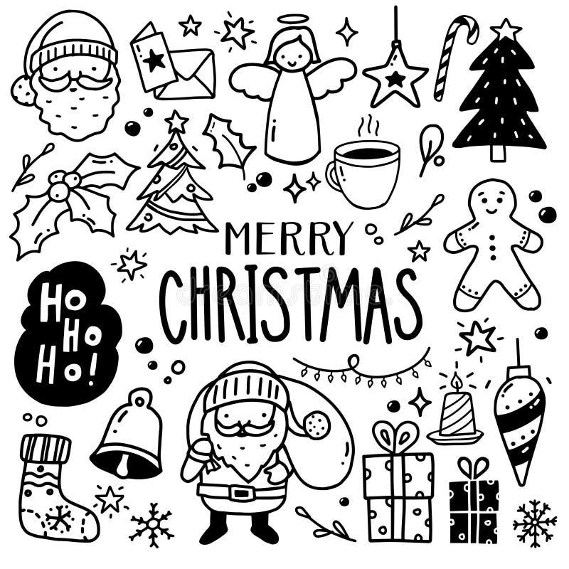 Kersttekeningen - Doodles royalty-vrije illustratie