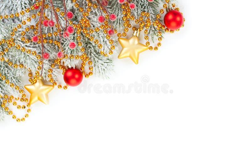 kerstversiering, geïsoleerd op witte achtergrond Vroegere kerstkaart Luxueuze decor-grenzen stock afbeelding