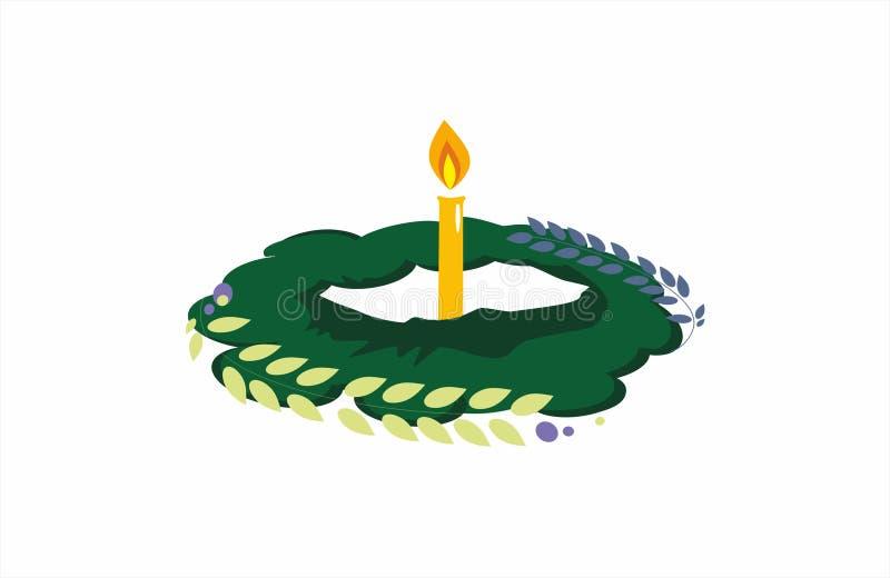 Kerze Abbildung Kerze und Kranz lizenzfreie abbildung