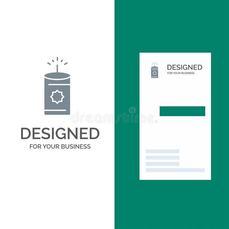 Kerze, China, Chinese Grey Logo Design und Visitenkarte-Schablone stock abbildung