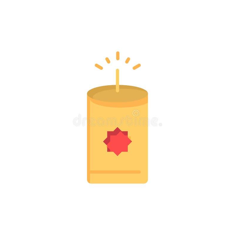 Kerze, China, chinesische flache Farbikone Vektorikonen-Fahne Schablone stock abbildung