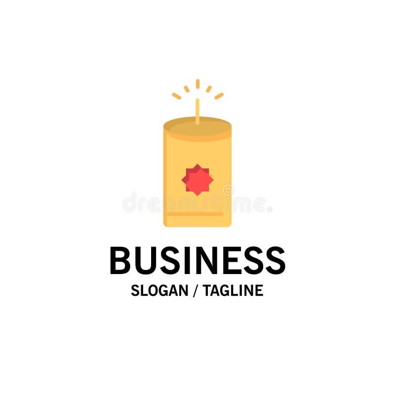 Kerze, China, chinesisches Geschäft Logo Template flache Farbe stock abbildung
