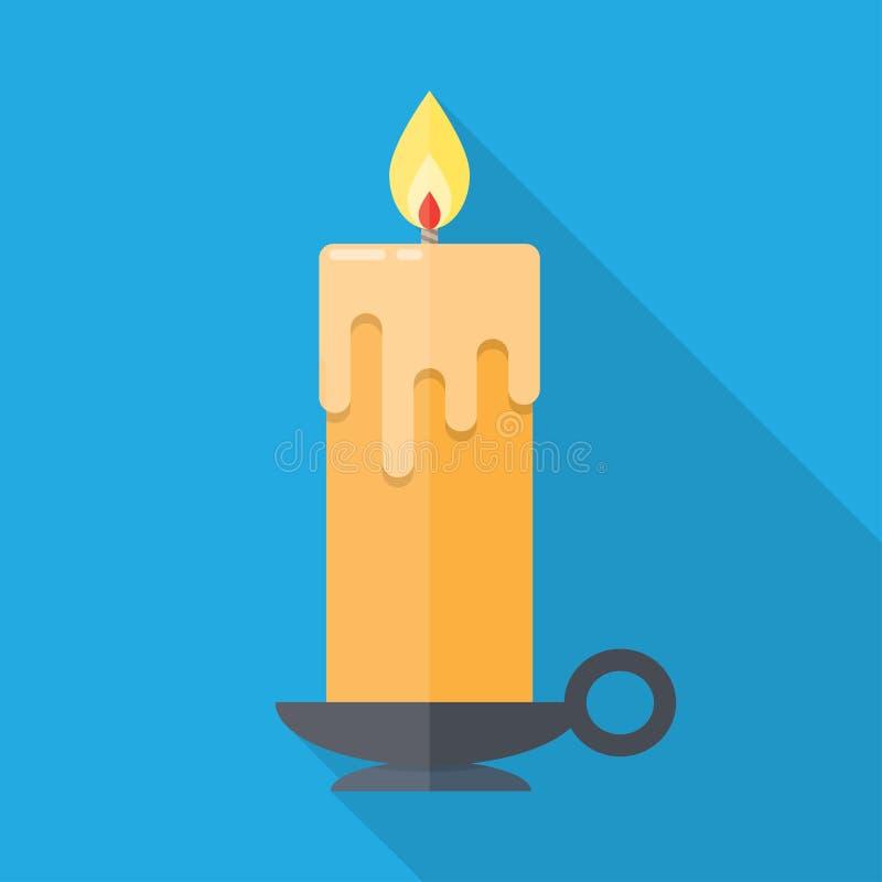 Kerze in der flachen Art lizenzfreie abbildung