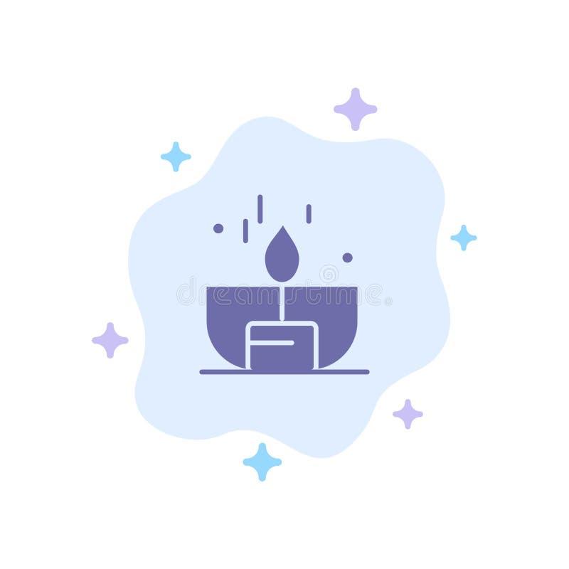 Kerze, Dunkelheit, Licht, Feuerzeug, Glanz-blaue Ikone auf abstraktem Wolken-Hintergrund vektor abbildung