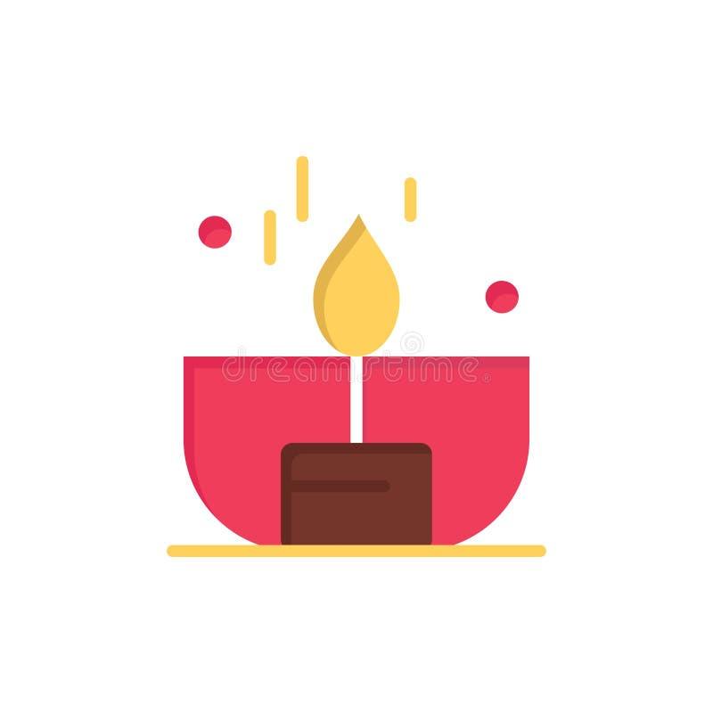 Kerze, Dunkelheit, Licht, Feuerzeug, Glanz-flache Farbikone Vektorikonen-Fahne Schablone lizenzfreie abbildung