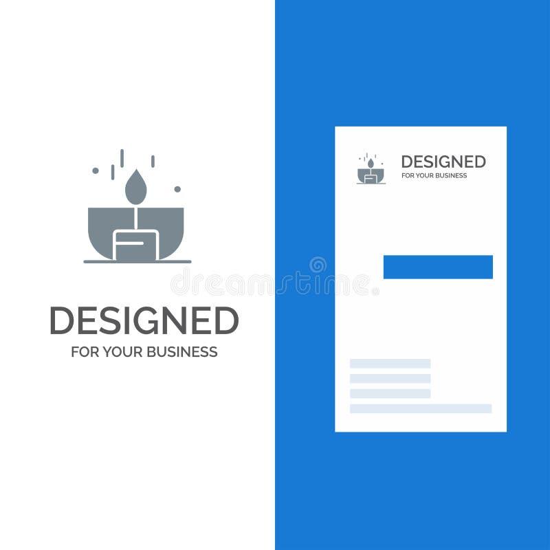 Kerze, Dunkelheit, Licht, Feuerzeug, Glanz Grey Logo Design und Visitenkarte-Schablone vektor abbildung