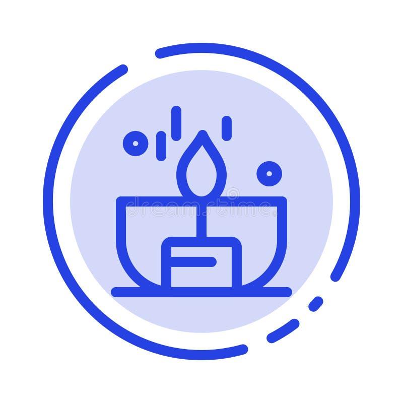 Kerze, Dunkelheit, Licht, Feuerzeug, Linie Ikone der Glanz-blauen punktierten Linie vektor abbildung