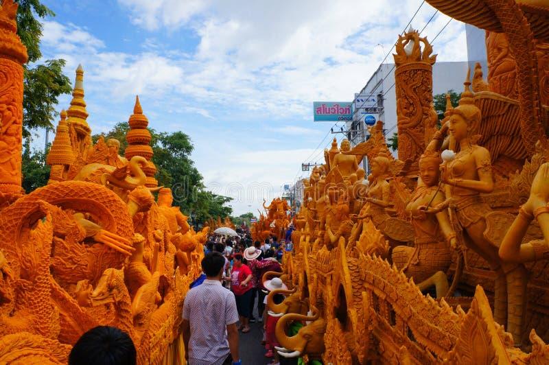 Kerze-Festival in Thailand stockfoto