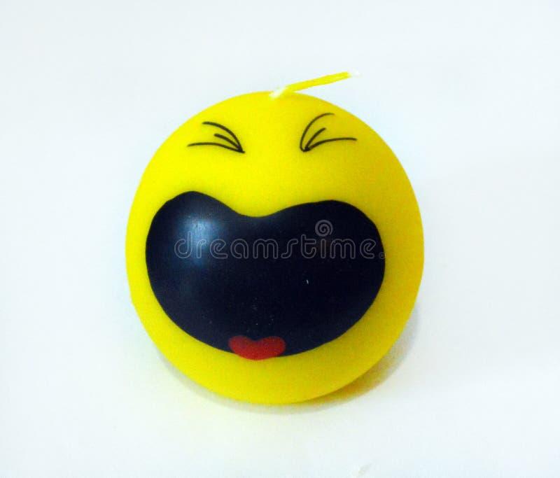 Kerze in Form eines schreienden Emoticon lizenzfreies stockbild