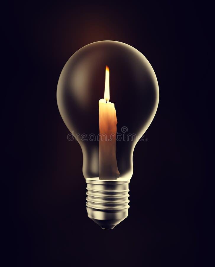 Kerze innerhalb einer Glühlampe lizenzfreie abbildung