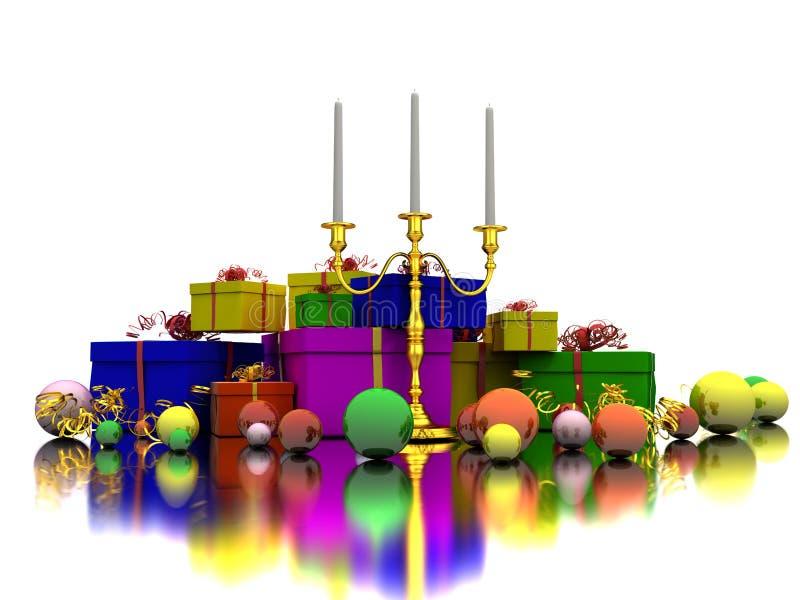 Kerze und Geschenke stock abbildung