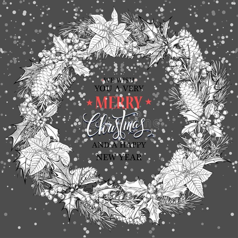 Kerze und Glaskugeln mit dem gezierten Zweig Weihnachtskalligraphiebeschriftungs-Vektordesign vektor abbildung