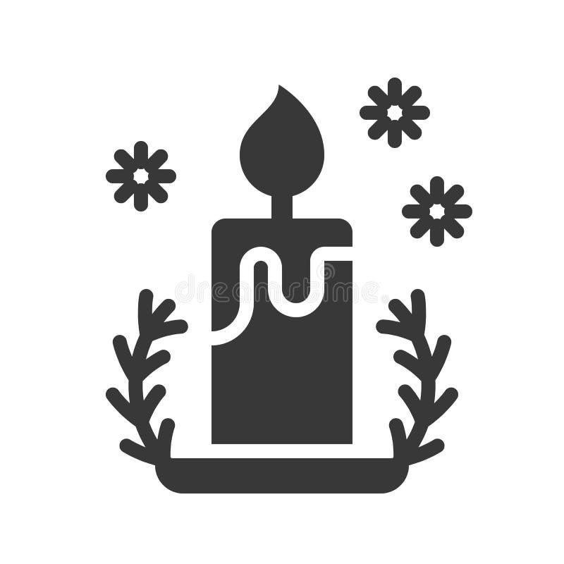 Kerze und Halter, nettes Weihnachten und Winter bezogen sich Satz, festes d vektor abbildung