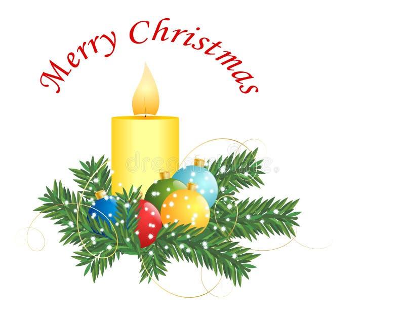Kerze- und Weihnachtskugeln stock abbildung