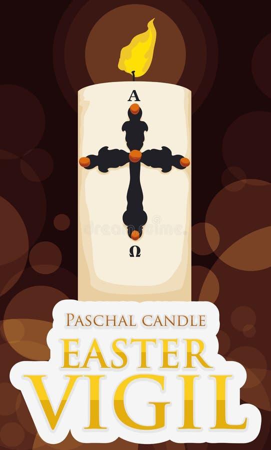 Kerzen-aufschlussreiches Osternachtsfeier-Ereignis mit goldenem Zeichen, Vektor-Illustration stock abbildung