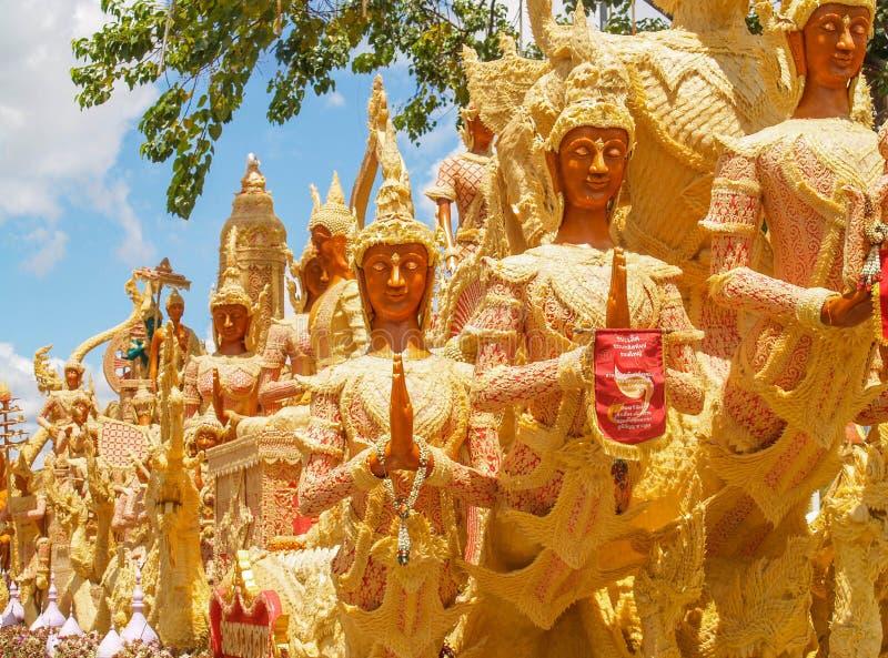 Kerzen-Festival Ubon Thailand stockfotografie