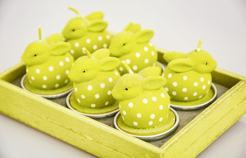 Kerzen in Form grüner Osterhasen, Feiertagssymbol lizenzfreie stockbilder
