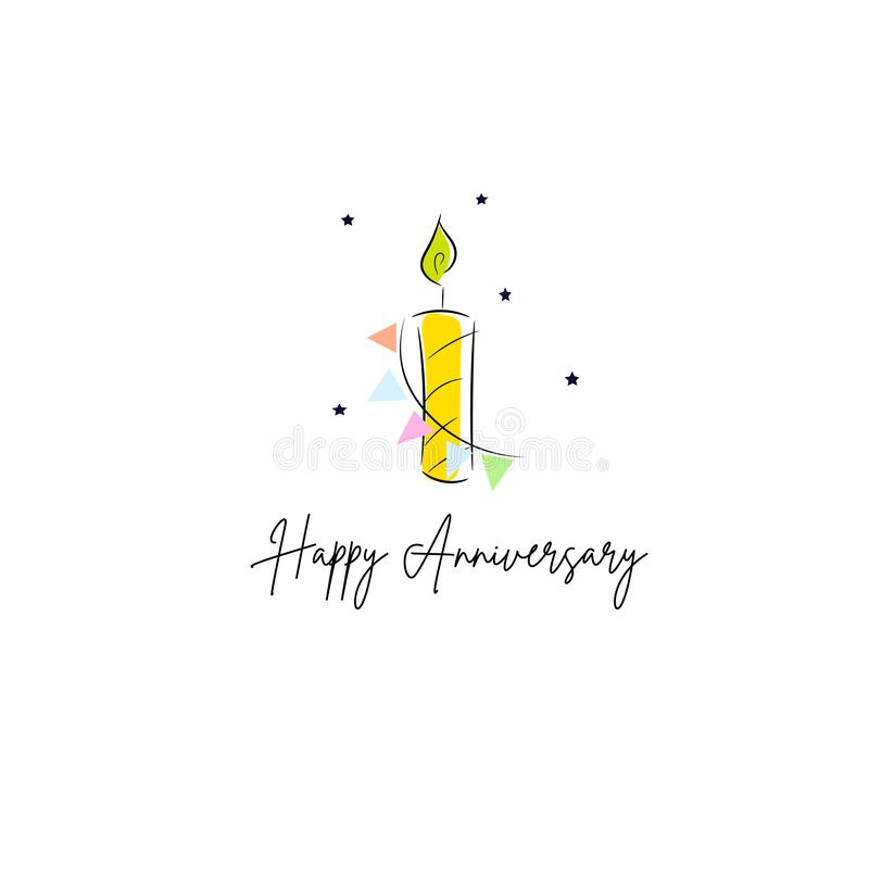 Kerzen-Kartenentwurfsschablone des ersten Geburtstages festliche lizenzfreie abbildung