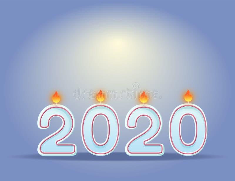 2020 Kerzen Konzept des Entwurfes der Feier des neuen Jahres horizontale Festliche brennende Kerzen lizenzfreie abbildung