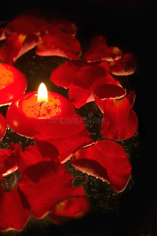 Kerzen mit den rosafarbenen Blumenblättern _5 lizenzfreie stockfotografie