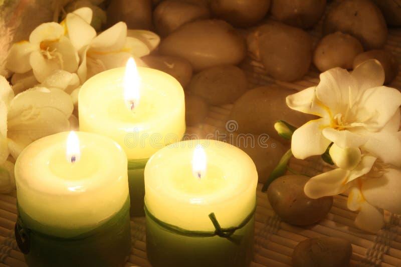 Kerzen und Freesias stockfotografie