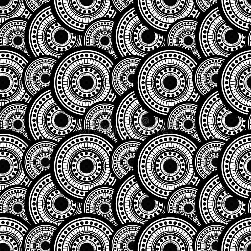 Kerzen und Glastropfen auf Sand Nahtloses Muster von den Punkten und von Kreisen Schwarzweiss lizenzfreie abbildung