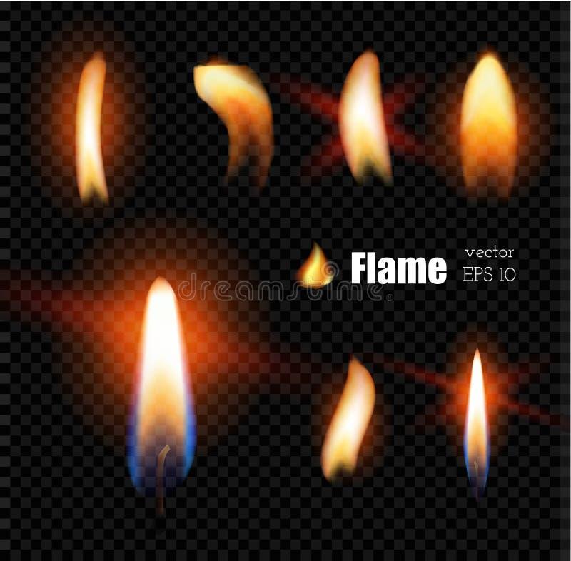 Kerzenfeuer-Feuerzeugflamme des Vektors realistische stock abbildung