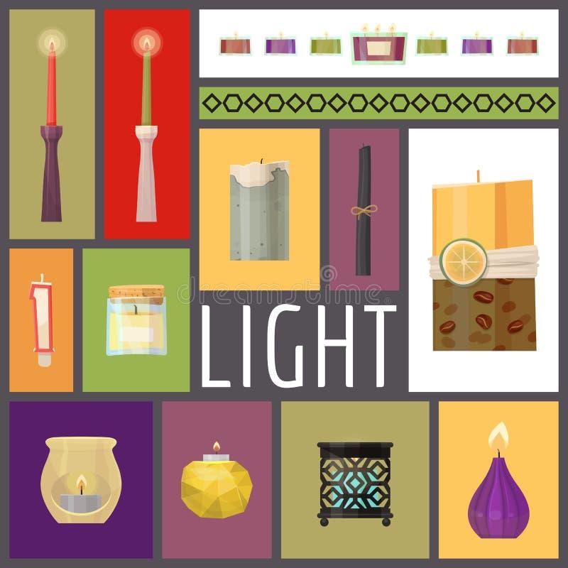 Kerzenfeuer-Vektorillustration Wachskerzen für Weihnachtspartei, romantische Hitzekerzenlichtflamme und beleuchteten Flammen Nigh lizenzfreie abbildung